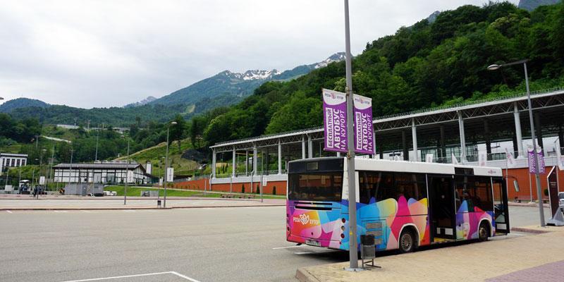 Бесплатный автобус от вокзала до подъемников Роза Хутор