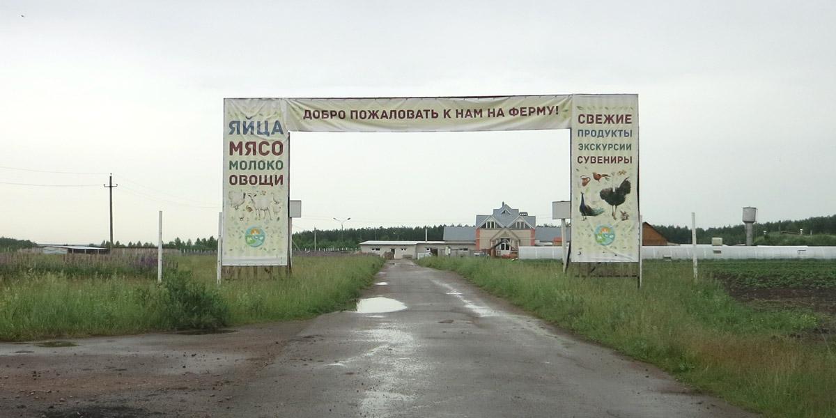 Въезд на экоферму Благословение в Орловской области