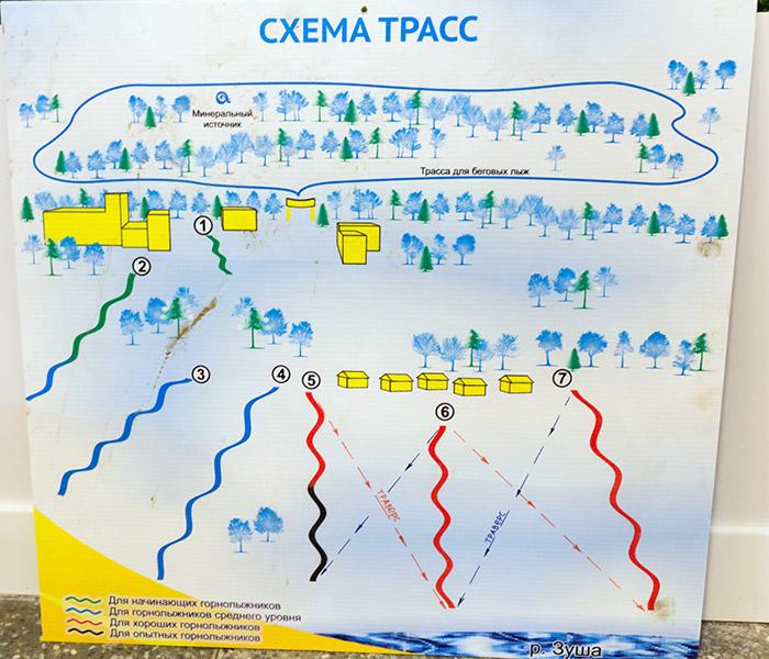 Схема карта трасс и горнолыжных спусков