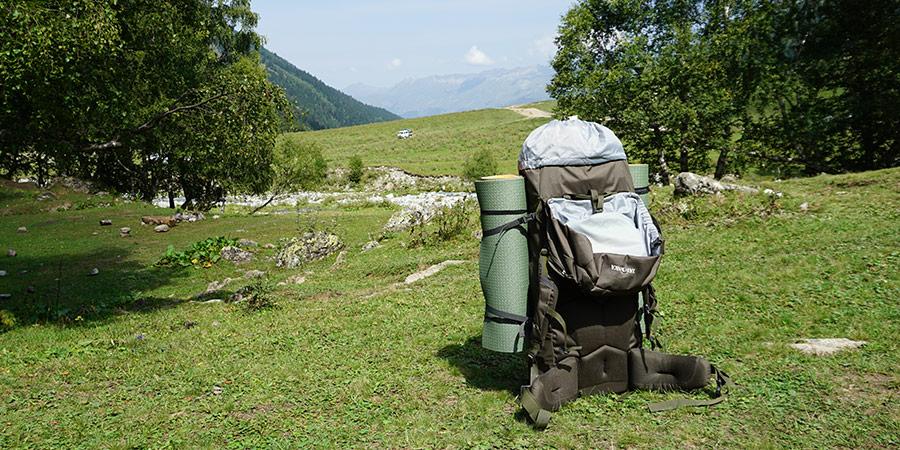 Объем рюкзака 105 литров с вещами для взрослого и ребенка