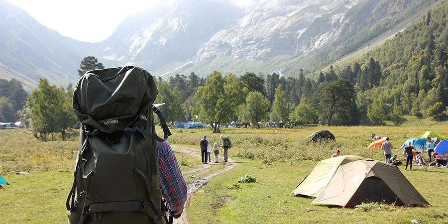 Выход из лагеря на перевал Софийское седло