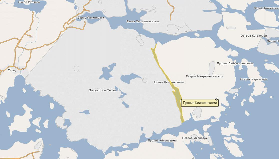 Пролив Киискансалми на карте Карелии