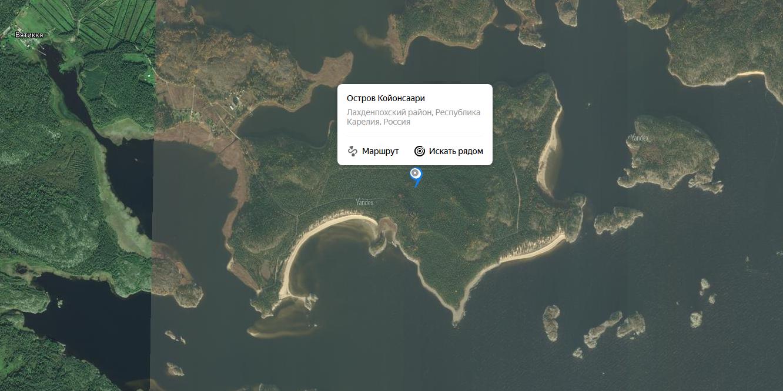Остров Койонсаари на Яндекс карте