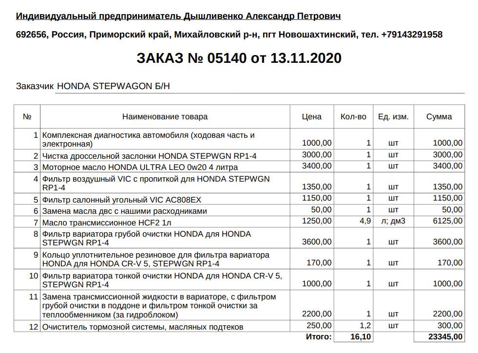 Счет за диагностику и техническое обслуживание Хонды во Владивостоке у Александра Хирурга