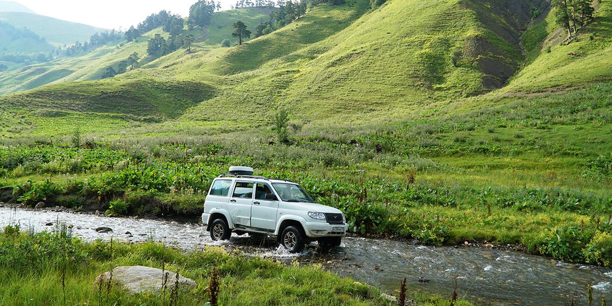 Заброска на уазике в долину Малой Дукки Архыз
